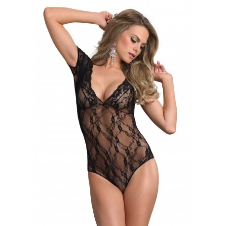 Body Sexy in Pizzo Nero con Decori Floreali - Leg Avenue