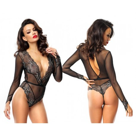Body Sexy da Donna in Pizzo Nero Decorato con Profili Oro